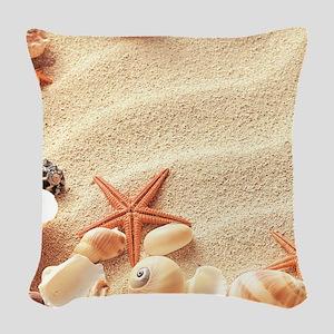 Seashells Woven Throw Pillow