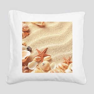 Seashells Square Canvas Pillow