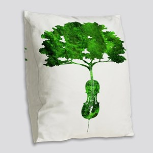 Cello tree-2 Burlap Throw Pillow