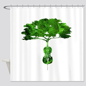 Cello tree-2 Shower Curtain