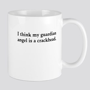 Guardian angel crackhead - black text Mugs