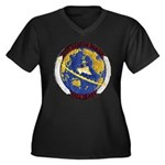 USS HANSON Women's Plus Size V-Neck Dark T-Shirt