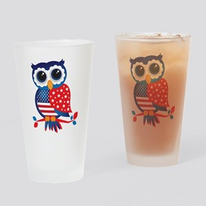 USA Owl Drinking Glass