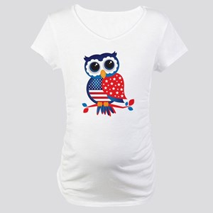 USA Owl Maternity T-Shirt