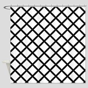 Black Cross Hatch Shower Curtain
