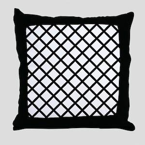 Black Cross Hatch Throw Pillow