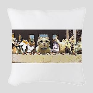 Cat Last Supper Woven Throw Pillow