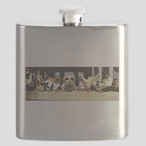 Cat Last Supper Flask