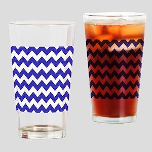 Shades of Blue Chevron Stripes Drinking Glass
