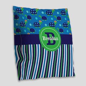 Blue Green Turtles Personalized Burlap Throw Pillo