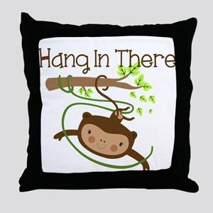 Monkey Hang in There Throw Pillow
