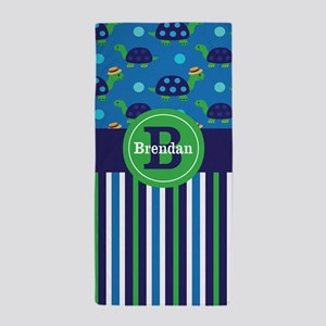 Turtles Blue Green Personalized Beach Towel
