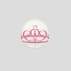 Quinceanera 15 Crown Mini Button