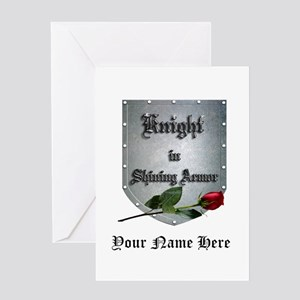 Knight In Shining Armor Rose Greeting Cards