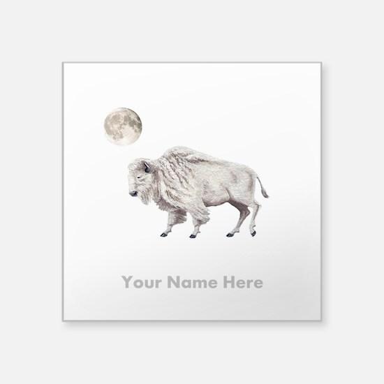 White Buffalo Full Moon Personalize Sticker