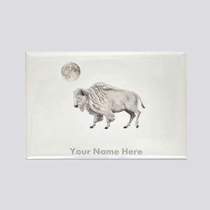 White Buffalo Full Moon Personalize Magnets