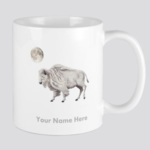 White Buffalo Full Moon Personalize Mugs