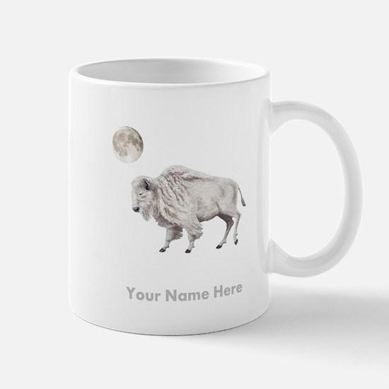 White Buffalo Full Moon Personalize Mugs