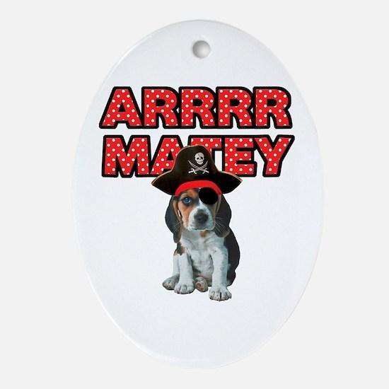 Pirate Beagle Puppy Ornament (Oval)