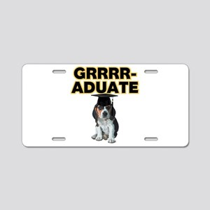 Graduation Beagle Puppy Aluminum License Plate