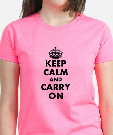 Keep Calm And Carry On | Personalized Pink T-Shirt