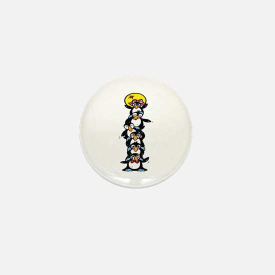 Penguin Totem Pole Mini Button