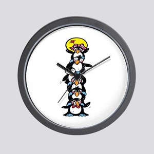 Penguin Totem Pole Wall Clock