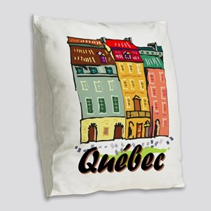 Quebec City Burlap Throw Pillow