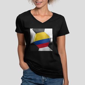 Colombia Soccer Ball Women's V-Neck Dark T-Shirt