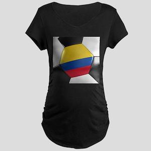 Colombia Soccer Ball Maternity Dark T-Shirt