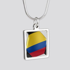 Colombia Soccer Ball Silver Square Necklace