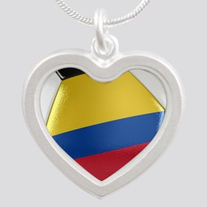 Colombia Soccer Ball Silver Heart Necklace