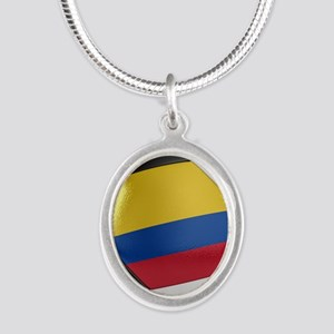 Colombia Soccer Ball Silver Oval Necklace