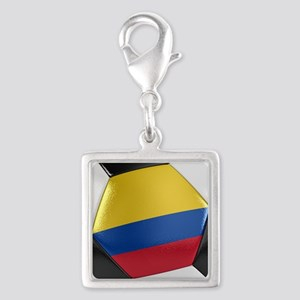 Colombia Soccer Ball Silver Square Charm