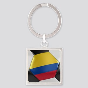 Colombia Soccer Ball Square Keychain