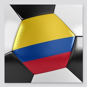 "Colombia Soccer Ball Square Car Magnet 3"" x 3"""