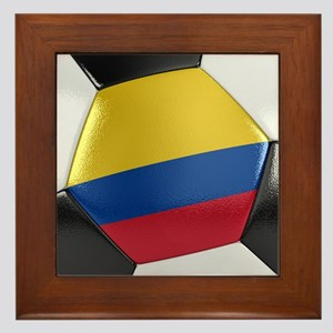 Colombia Soccer Ball Framed Tile