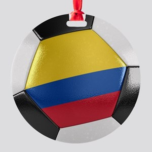 Colombia Soccer Ball Round Ornament