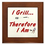 I Grill Therefore I AM Framed Tile