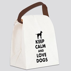 Keep calm and love dogs Canvas Lunch Bag