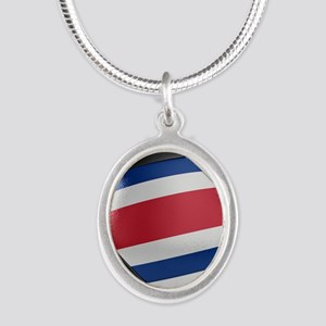 Costa Rica Soccer Ball Silver Oval Necklace