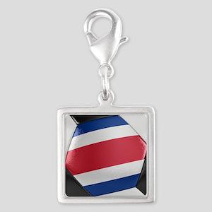 Costa Rica Soccer Ball Silver Square Charm
