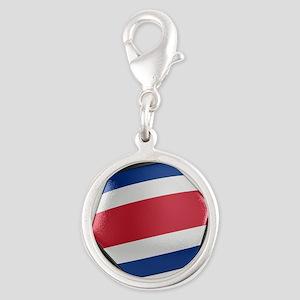 Costa Rica Soccer Ball Silver Round Charm