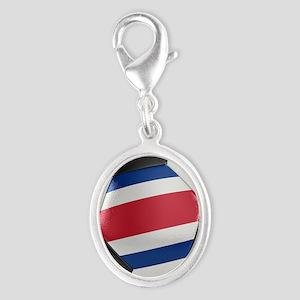 Costa Rica Soccer Ball Silver Oval Charm