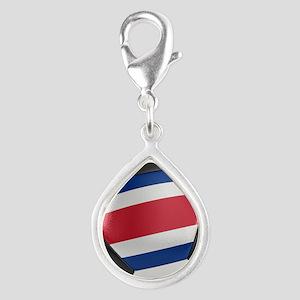 Costa Rica Soccer Ball Silver Teardrop Charm