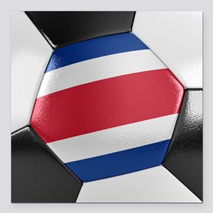 "Costa Rica Soccer Ball Square Car Magnet 3"" x 3"""