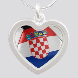 Croatia Soccer Ball Silver Heart Necklace