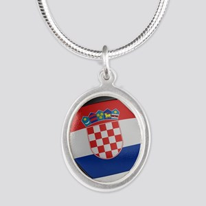 Croatia Soccer Ball Silver Oval Necklace