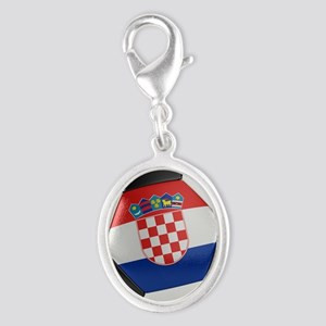Croatia Soccer Ball Silver Oval Charm