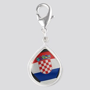 Croatia Soccer Ball Silver Teardrop Charm